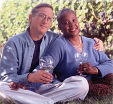 Dorothy and John Brechers_2 with wine glasses